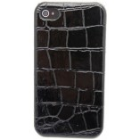 накладка для iphone 4 4s черная имитация кожи крокодила